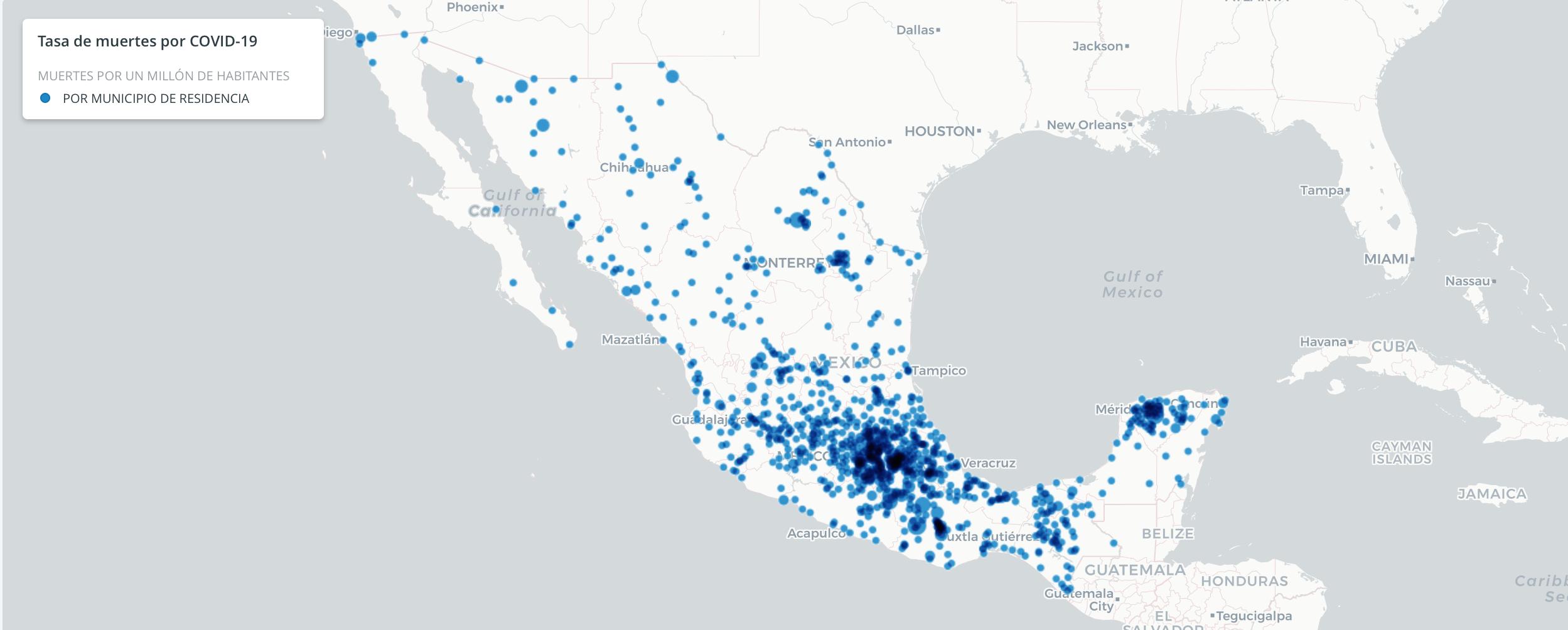 Mapa de muertes en México por covid-19