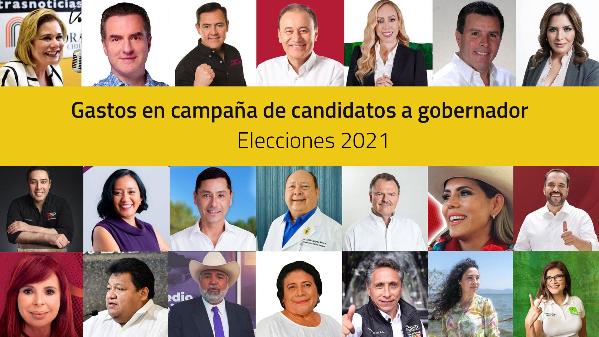 Gastos en campaña de candidatos a gobernador en 2021